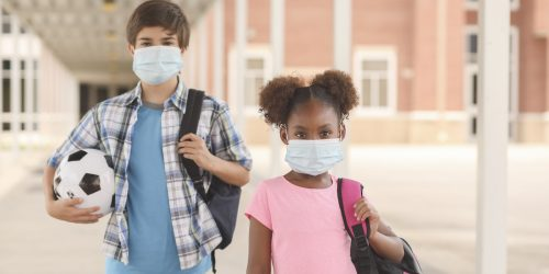 Picture of students wearing masks